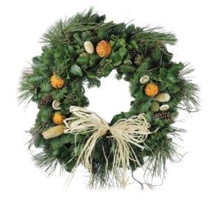 Citrus Straw Bow Christmas Wreaths