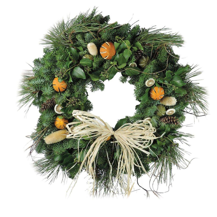Citrus Straw Bow Christmas Wreaths