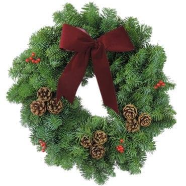 Classic Christmas Wreaths Burgundy