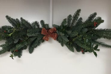 Decorated Holly Christmas Mantle